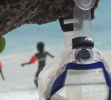 goggles on beach Sticker