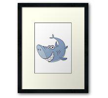 Big Blue Cartoon Shark Framed Print