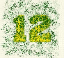 Abstract Twelve Paint Splatter - Green On Yellow by EmeraldRaindrop