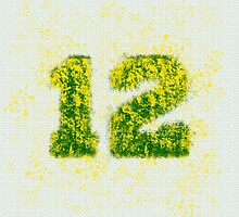 Abstract Twelve Paint Splatter - Yellow On Green by EmeraldRaindrop