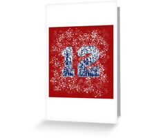 Abstract Twelve Paint Splatter - Blue On Red Greeting Card