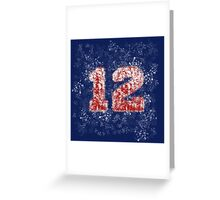 Abstract Twelve Paint Splatter - Red On Blue Greeting Card