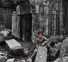 Woman with Boy - Temples of Angkor, Cambodia by Stephen Permezel