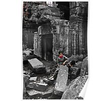 Woman with Boy - Temples of Angkor, Cambodia Poster