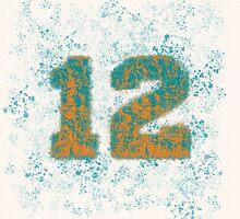 Abstract Twelve Paint Splatter - Orange On Teal by EmeraldRaindrop