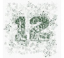 Abstract Twelve Paint Splatter - Dark Green On White Photographic Print