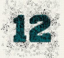 Abstract Twelve Paint Splatter - Black On Teal by EmeraldRaindrop