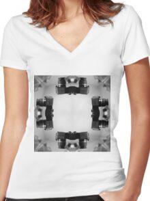 Kaleidoscopic Camera Print  Women's Fitted V-Neck T-Shirt