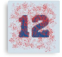 Abstract Twelve Paint Splatter - Blue On Red Canvas Print