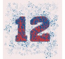 Abstract Twelve Paint Splatter - Red On Blue Photographic Print