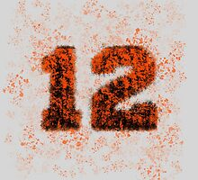 Abstract Twelve Paint Splatter - Orange On Black by EmeraldRaindrop