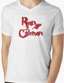 White Ryan Coleman Logo Mens V-Neck T-Shirt