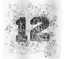 Abstract Twelve Paint Splatter - Black On Silver Poster