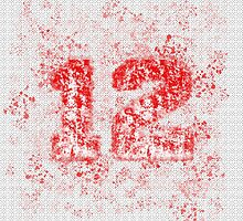 Abstract Twelve Paint Splatter, Red On White by EmeraldRaindrop