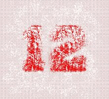 Abstract Twelve Paint Splatter, White On Red by EmeraldRaindrop