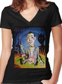 The Shadows of Pee Wee's Playhouse Women's Fitted V-Neck T-Shirt