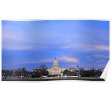 United States Capitol in Evening Poster