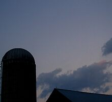 Yade Barn Roof and Silo at Twilight by wetdryvac