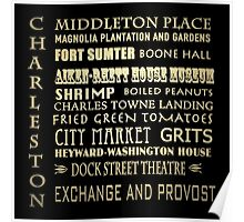 Charleston South Carolina Famous Landmarks Poster