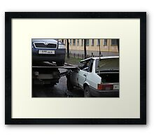 accident with a car tow truck Framed Print