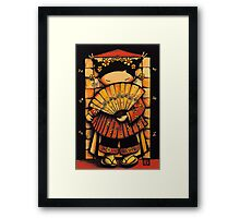 Chinese Red Fan Girl Framed Print