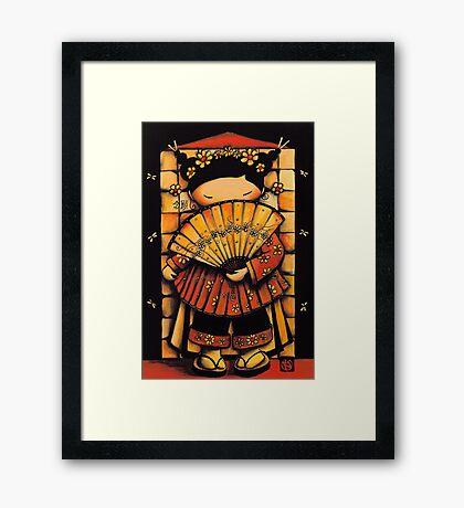 Chinese Red Fan Girl Framed Print