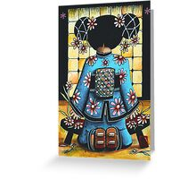 Asia Blue Greeting Card