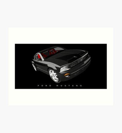 Ford Mustang - Black Art Print