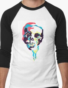 Silk Screen Skull Men's Baseball ¾ T-Shirt