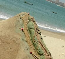 Virgin Mary Sand Sculpture by Jennifer  Causley