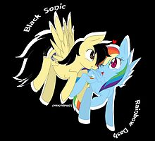 Black Sonic and Rainbow Dash Request Piece by CookieCrumbsArt