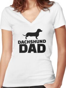 Dachshund Dad Women's Fitted V-Neck T-Shirt