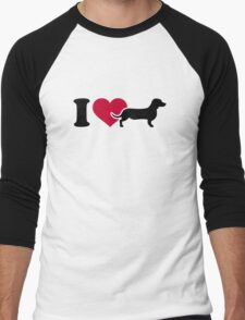 I love Dachshund Men's Baseball ¾ T-Shirt