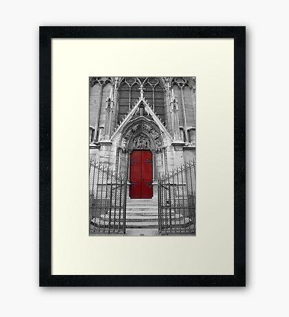 Notre Dame's Red Door Framed Print