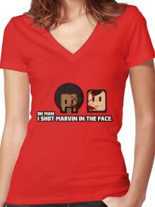 Toon Quote : Pulp Fiction - I Shot Marvin in the Face Women's Fitted V-Neck T-Shirt