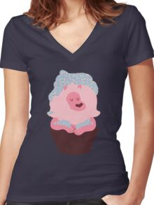 Cupcake Lion Women's Fitted V-Neck T-Shirt
