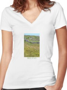Flowers emerge from stone, stone from flowers Women's Fitted V-Neck T-Shirt