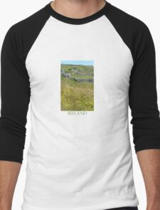 Flowers emerge from stone, stone from flowers Men's Baseball ¾ T-Shirt