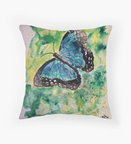 Blue butterfly yupo painting Throw Pillow