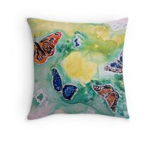 3 butterflies yupo painting Throw Pillow