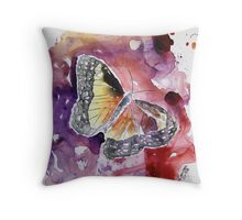 Monarch butterfly yupo painting Throw Pillow