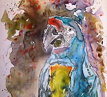 Macaw Parrot yupo Painting by derekmccrea