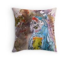 Macaw Parrot yupo Painting Throw Pillow