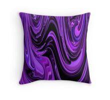 Shades of Purple Ripple and Flow Together with Black Unique Abstract Throw Pillow