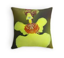 Yellow Orchid Macro Throw Pillow