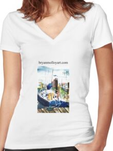 blue boat Women's Fitted V-Neck T-Shirt