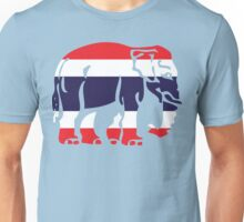 Asian Elephant Crossing Thai Flag Traffic Sign Unisex T-Shirt