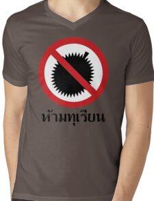 NO Durian Tropical Fruit Sign ~ Thai Language Script Mens V-Neck T-Shirt