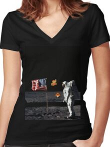Goombas on the Moon  Women's Fitted V-Neck T-Shirt