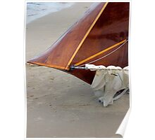 Bow of a classic timber boat Poster